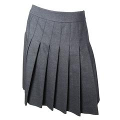 Chanel Charcoal Wool Pleated Skirt