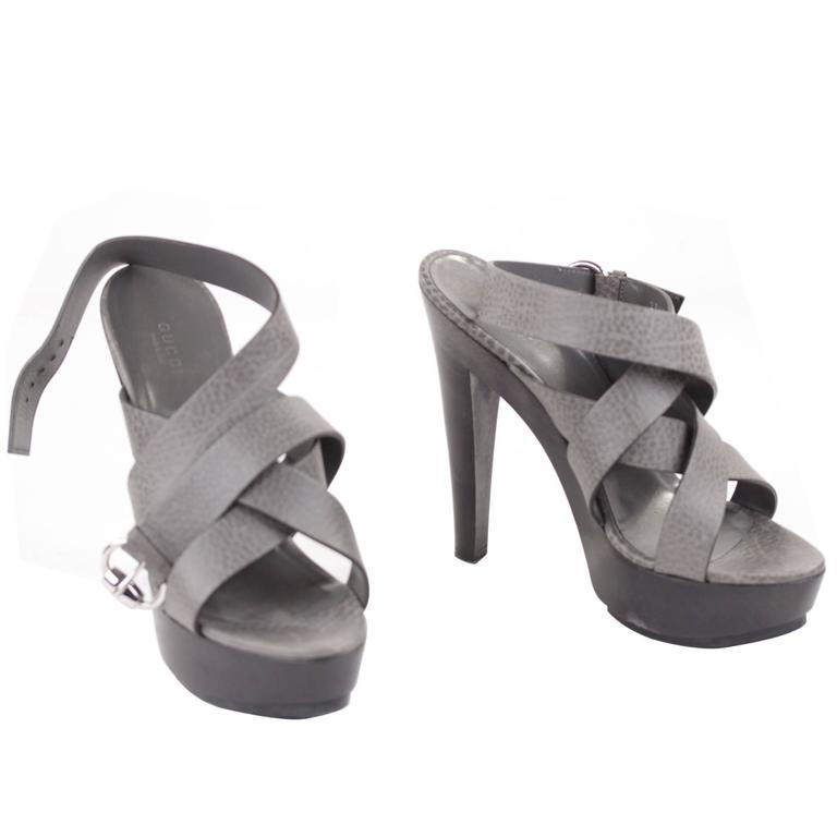 GUCCI Italian Gray Leather ANKLE WRAP Strap PLATFORMS Shoes SANDALS Sz 39