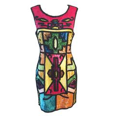 1991 Todd Oldham Beaded Sequin Mini Dress 1996 Runway on Janice Dickinson S