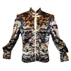 Yves Saint Laurent by Tom Ford F/W 2004 Chinese Dragon Silk Blouse Top M