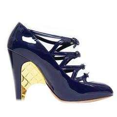 Chanel Navy Patent Leather Pump with Buckled Upper and Gold Wedge Detail
