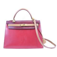 Vintage Hermes Kelly Tricolor Box cuir Bag