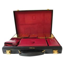 Hermes Vanity case for Men in Black Box Leather. 60's