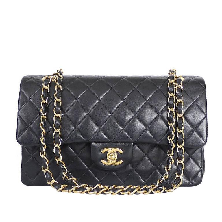 Vintage Chanel Black Lamb Skin 2 55 Double Flap Classic 25cm For