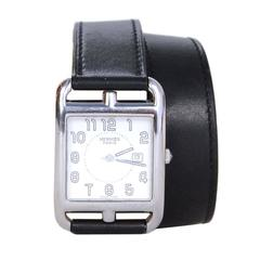Hermes Black Leather & Stainless Steel 29mm Double Tour Cape Cod GM Watch