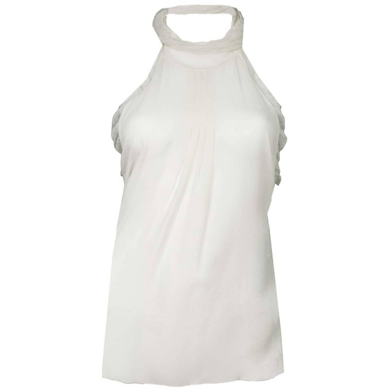 Chanel Sheer Ivory Silk Halter Top Sz 38
