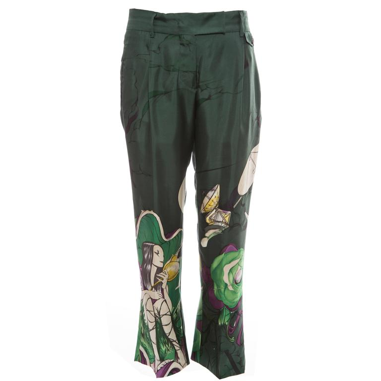 Prada Silk Cropped Pants With James Jean Fairy Print, Spring - Summer 2008 For Sale