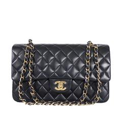 Chanel Black Lamb Skin 2.55 Double Flap Classic 25cm