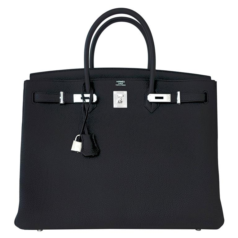 Hermes Black 40 Togo Palladium Hardware A Stamp Birkin Bag For Sale