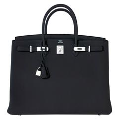 Hermes Black 40 Togo Palladium Hardware A Stamp Birkin Bag