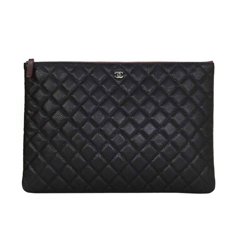 129933ea77 Chanel Black Caviar Leather Quilted O-Case Clutch/Cosmetic Bag For Sale