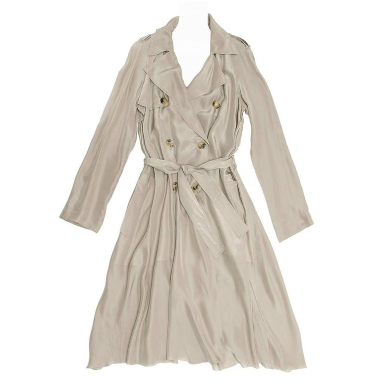 Lanvin Taupe Silk Trench Coat