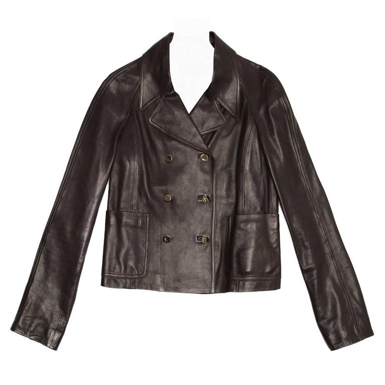 4b8a2fb01 Gucci Dark Brown Leather Jacket For Sale at 1stdibs