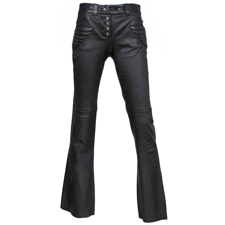 Alexander McQueen Black Leather Skull Pants  For Sale