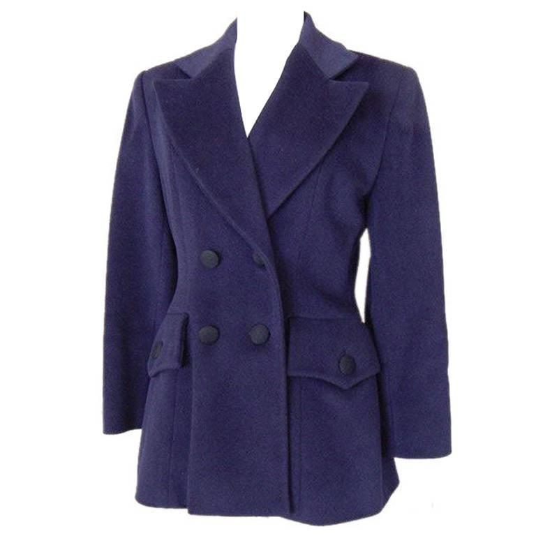 Ines de la Fressange Vintage Navy Jacket Warm Cashmere  40 / 6  For Sale