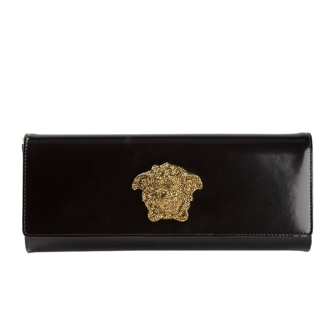 versace black leather clutch with crystal medusa for sale