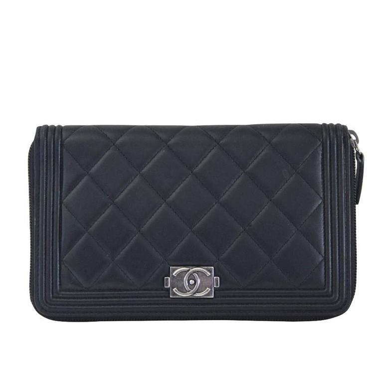 chanel zip coin purse. chanel black lambskin large zip around boy wallet no. 16 1 coin purse h