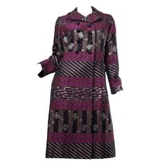 1960s Mr Blackwell Damask Evening Opera Coat