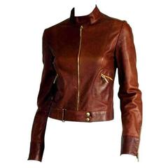 That Gorgeous Tom Ford Gucci SS 1999 Tan Brown Leather Runway Moto Jacket!