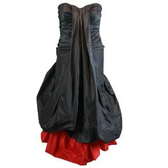 "A/W 2007 ""Witches"" Alexander McQueen Black & Red Silk Strapless Dress 40"