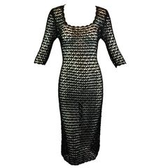 1990's Dolce & Gabbana Black Sheer Crochet Wiggle Dress S M