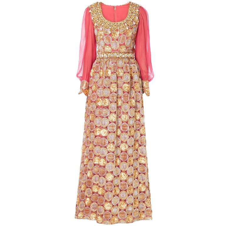 Oscar de la Renta pink and gold dress, Circa 1968 For Sale