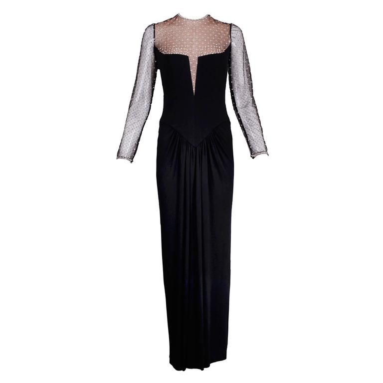 1980s Bob Mackie Black Silk Jersey Illusion Gown