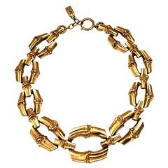 1970's YVES SAINT LAURENT oversized bamboo link necklace