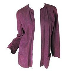 1980s Jean Muir Purple Suede Jacket with Floral Design