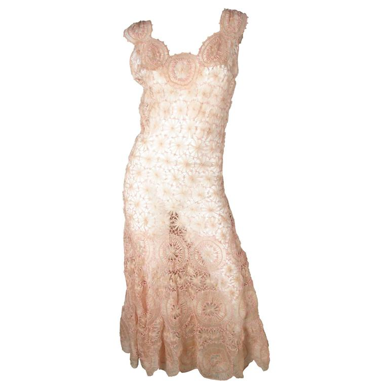 Pink Crochet Gown - sale For Sale