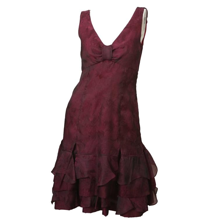 Carolina Herrera S/L Burgundy V-Neck W/ Ruffle Detail  1