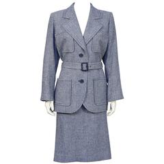 1970's Yves Saint Laurent YSL Blue Houndstooth Wool Safari Suit