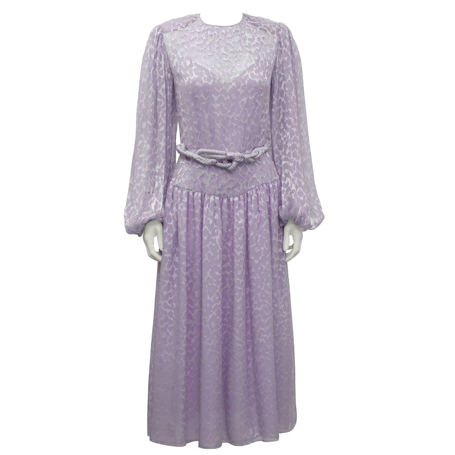 1980's Oscar de la Renta Lavender Chiffon Beaded Evening Dress