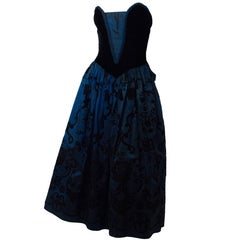 80s Midnight Blue & Black Velvet Flocked Strapless Party Dress