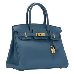 Hermes Birkin 30 T. Clemence Leather R2 Blue Agate NEW COLOR Gold Hardware 2016