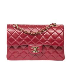 Classic Double Flap 23 Raspberry Red Metallic Quilted Leather