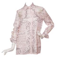 1980s Hermès Silk 'l'Art d'Ecrire' Blouse