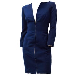 90s Mugler Cobalt Fitted Coat Dress