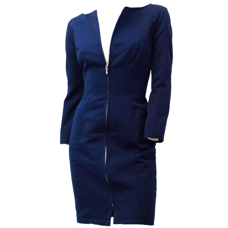 90s Mugler Cobalt Fitted Coat Dress  For Sale
