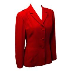 90s Badgley Mischka Red Fitted Blazer