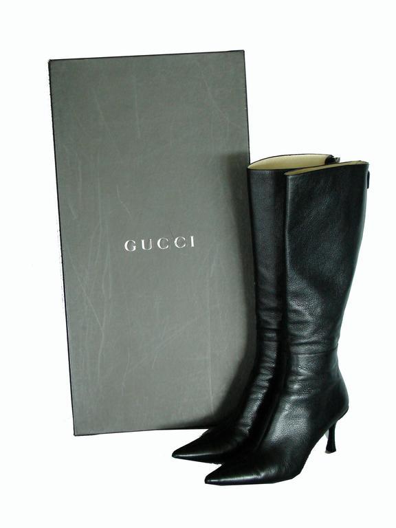 Gucci Black Kidskin Leather Knee High Boots Gomma Bali sz7.5 + Box + Dust Cover 10