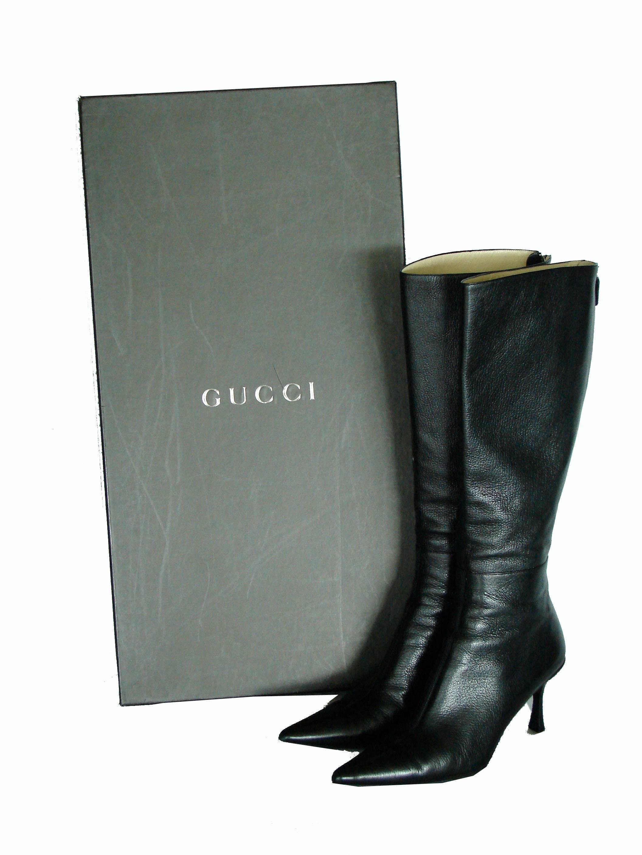 1b718b770 Gucci Black Kidskin Leather Knee High Boots Gomma Bali sz7.5 + Box + Dust  Cover at 1stdibs