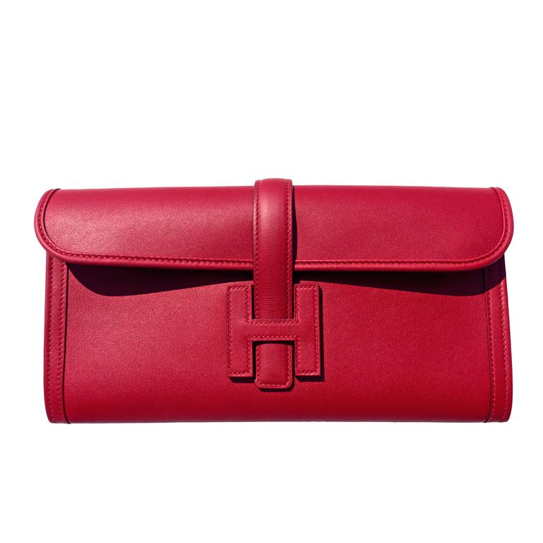 Hermes Rouge Grenat Jige Elan Clutch 29cm Red Garnet Jewel For Sale