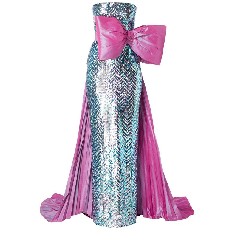 Pierre Cardin haute couture sequin gown, 1991 For Sale