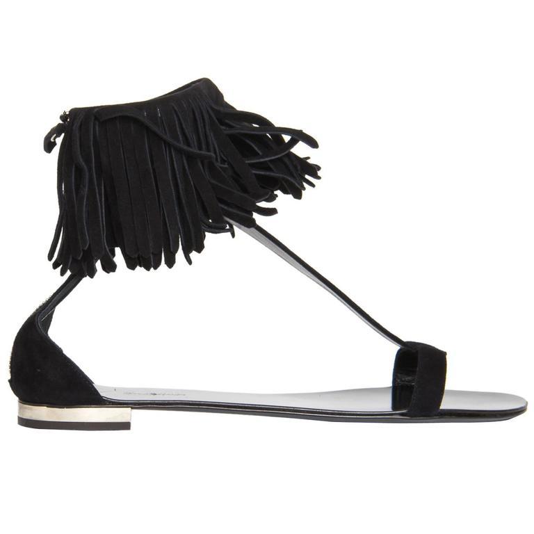 Balmain Black Suede Fringed Sandals