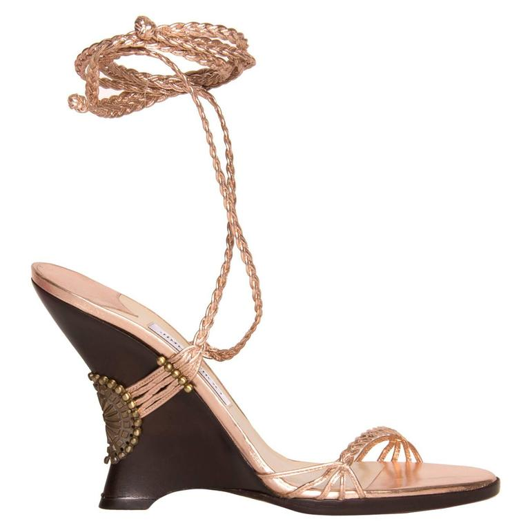 Jimmy Choo Pink Lace-Up Wedge Sandal For Sale