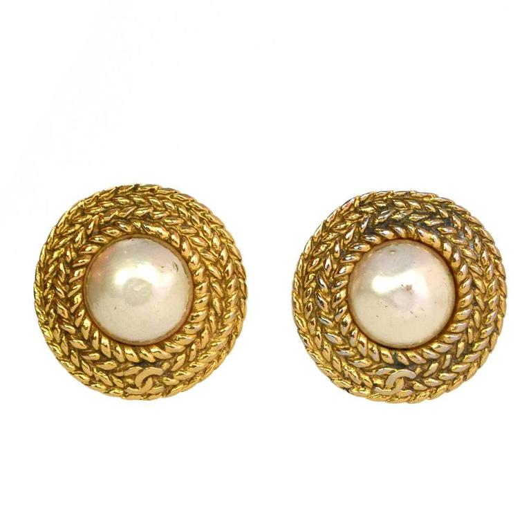 Chanel Vintage Goldtone And Faux Pearl Clip On Earrings For