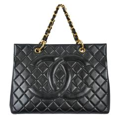Chanel Black Leather Quilted CC Purse