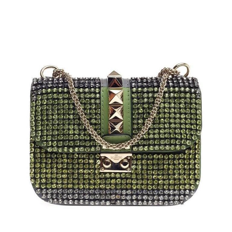 Valentino Glam Lock Shoulder Bag Crystal Embellished Leather Small For Sale
