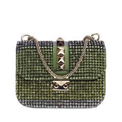 Valentino Glam Lock Shoulder Bag Crystal Embellished Leather Small
